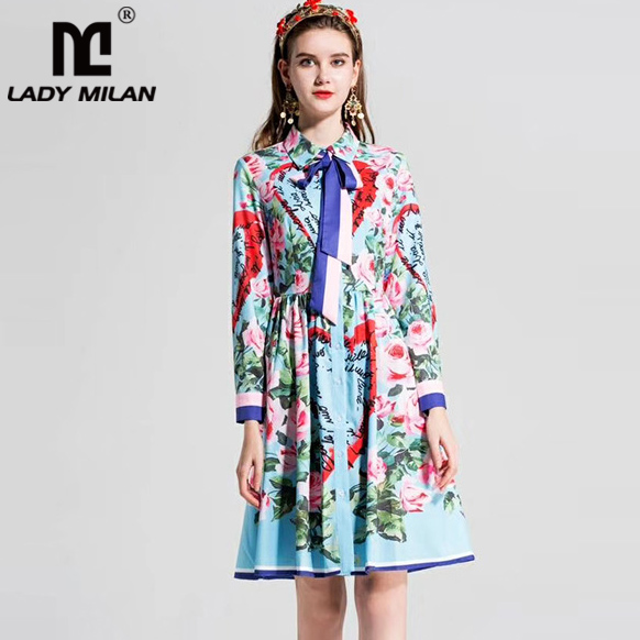 New Arrival 2018 Womens Turn Down Collar Long Sleeves Floral Printed Sash Bow Designer Fashion Summer Runway Dresses