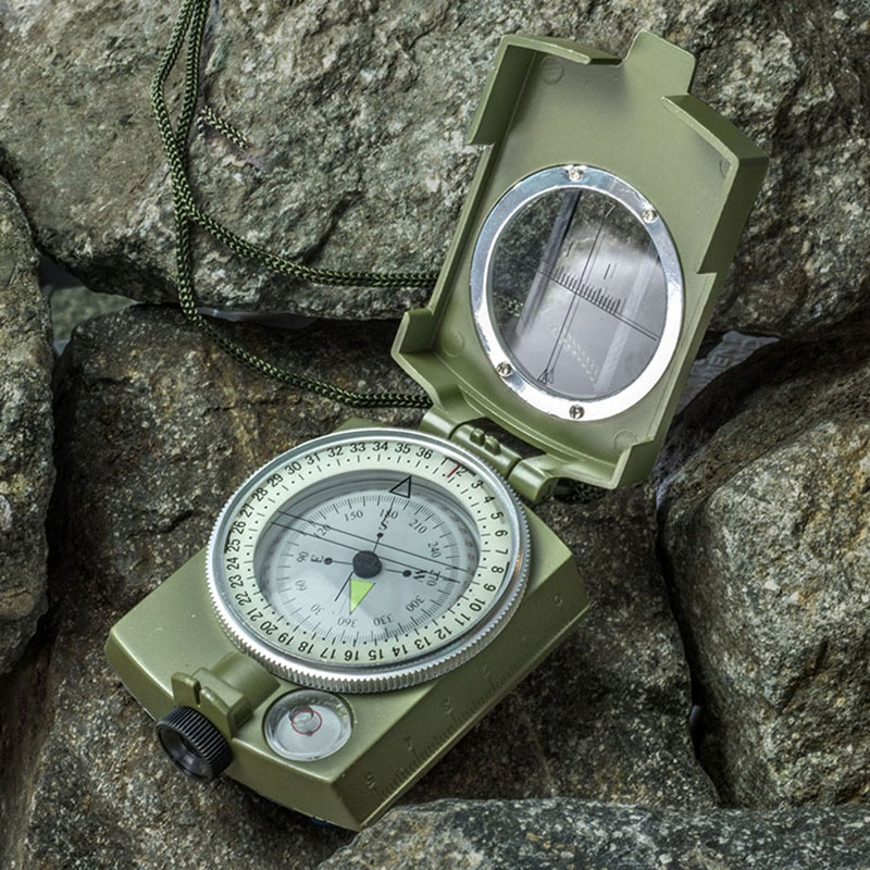 Military Army Metal Prismatic Sighting Compass High Accuracy Waterproof Compass with Pouch Outdoor Hiking Camping Climbing hiking camping copper alloy compass golden page href