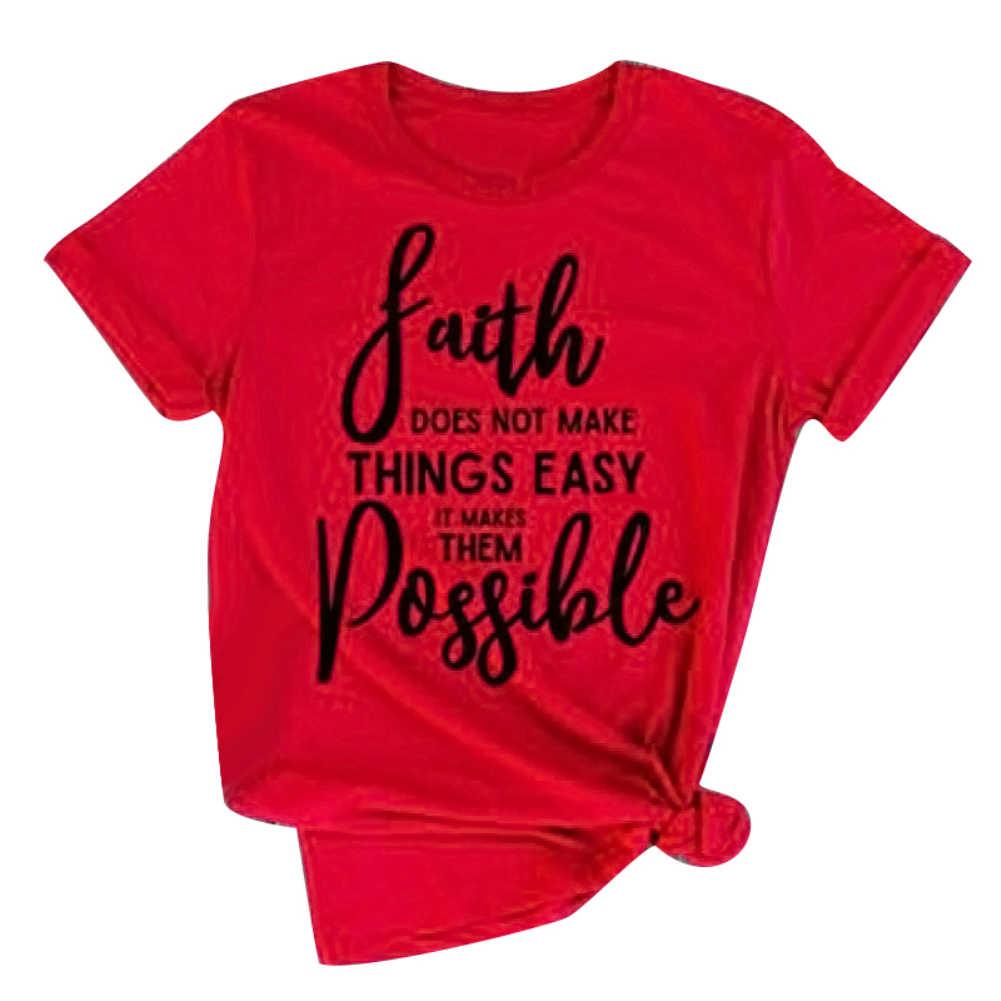 Летняя женская футболка с коротким рукавом и надписью «Faith Inspirational», новинка, большие размеры