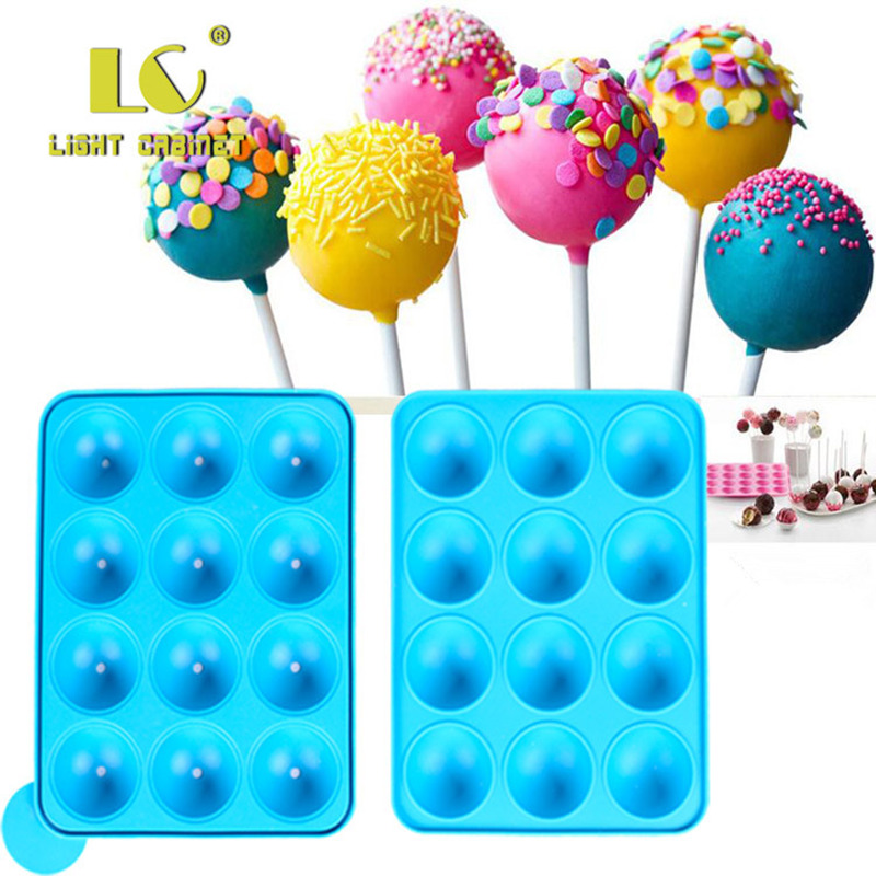 12 Hole Silicone Cake Pop Mold Ball Shaped Die Mold Silicone Lollipop Chocolate Cake Baking Ice