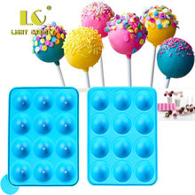 12 gat Siliconen Cake Pop Mold Bal Vormige Sterven Schimmel Siliconen Lolly Chocolade Cake Bakken Ice Tray Stick Tool(China)