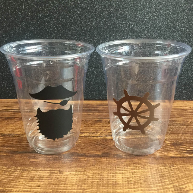 Vinyl Sticker Clear Disposable Pirate Captain u0026 Rudder 12oz Party Cups Baby Shower/Kids Birthday & Vinyl Sticker Clear Disposable Pirate Captain u0026 Rudder 12oz Party ...