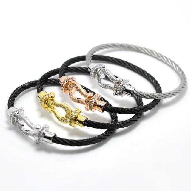 New Designs Wire Cable Zircon U Buckle Bracelets For Men Women Aaaa Cz Horse Bangles Fashion