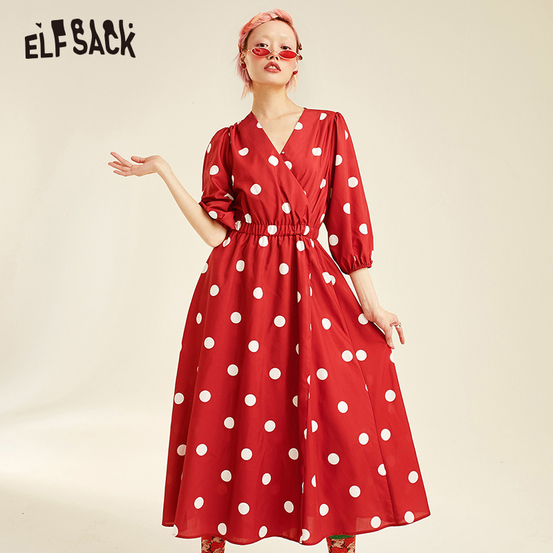 ELF SACK Dot Vintage Sexy V Neck Women Dresses 2019 Summer Elegant Female Party Dress Fashion