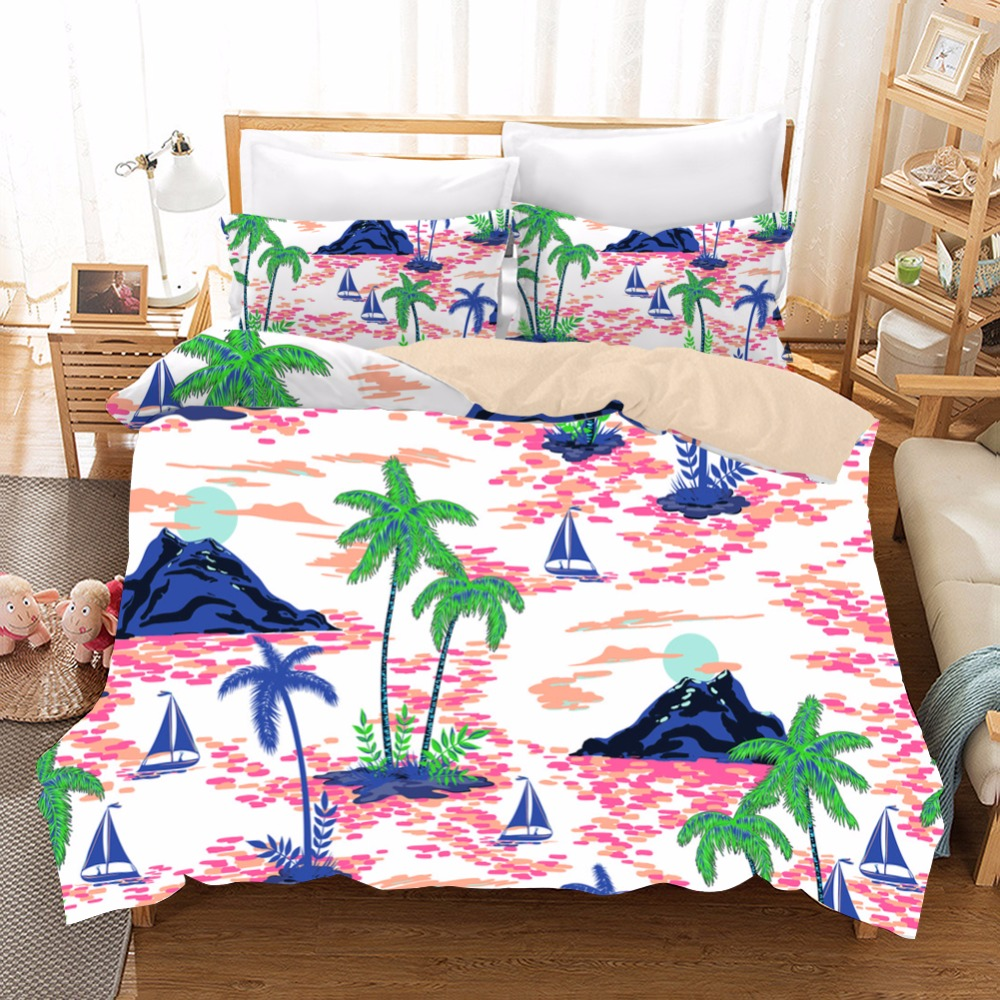 Home Textiles 3D Pattern Summer Style Hawaii Bedding European Comforter Bedding Sets Coconut Tree Duvet Cover Set Personalise FHome Textiles 3D Pattern Summer Style Hawaii Bedding European Comforter Bedding Sets Coconut Tree Duvet Cover Set Personalise F