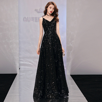 Black Evening Dress Women's New Style of Noble Fashion Banquet in 2019 with Sexy Slim Backless Prom Party Dresses Haute Couture