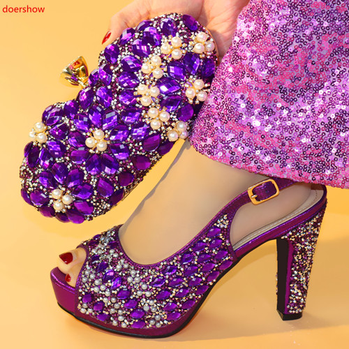 Doershow belles chaussures italiennes violettes avec des sacs assortis femmes africaines chaussures et sacs ensemble pour la fête de bal d'été sandale! HXX1-5