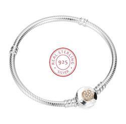 Аутентичные 925 пробы серебряных ПАН браслет MOMEMTS двухцветный Подпись змея браслет-цепочка и браслет Fit украшения из бисера Шарм