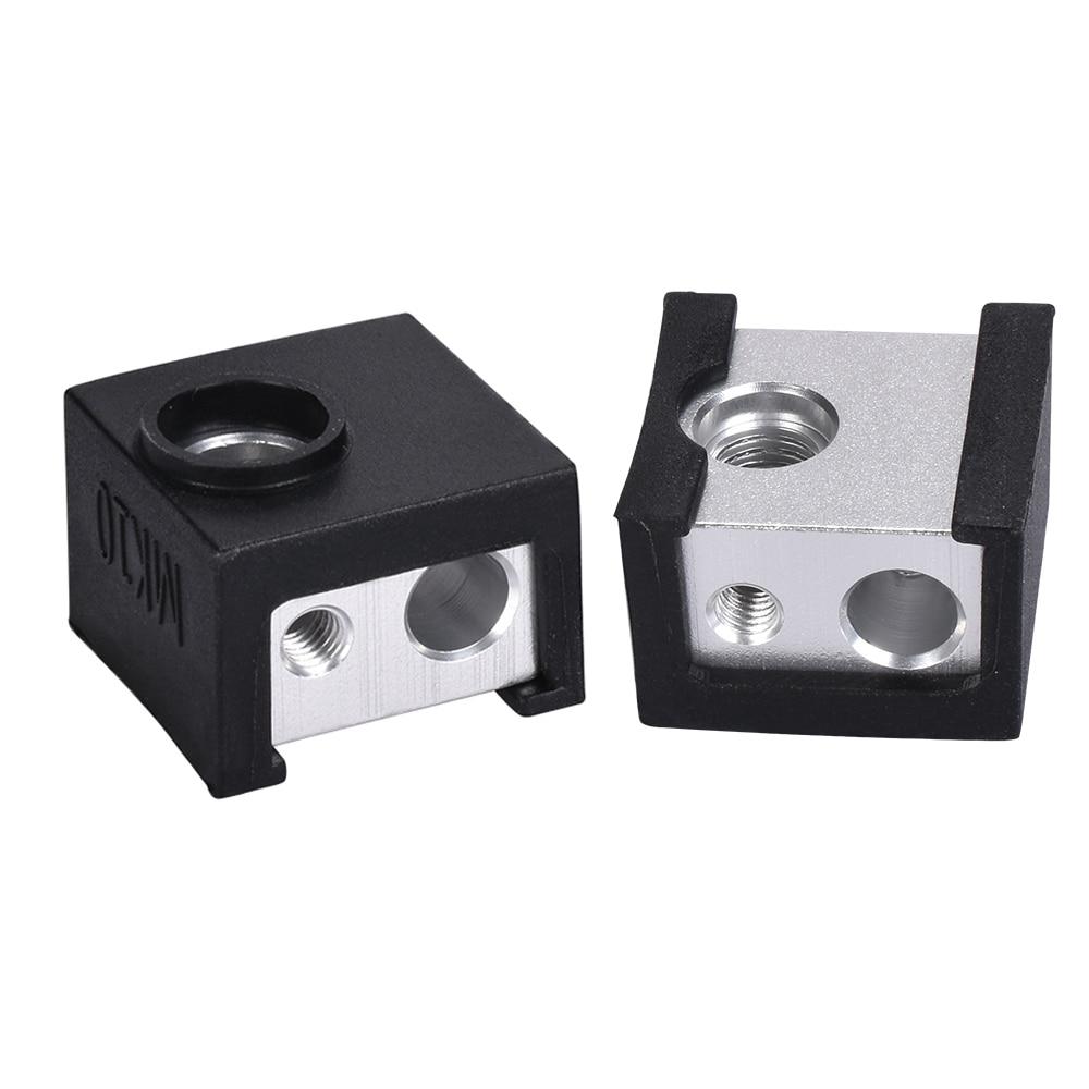 1/2pcs MK10 Silicone Socks Aluminum Block Assembled Full Metal J-head Hotend Extruder Kit Heater Block Cover For 3D Printer