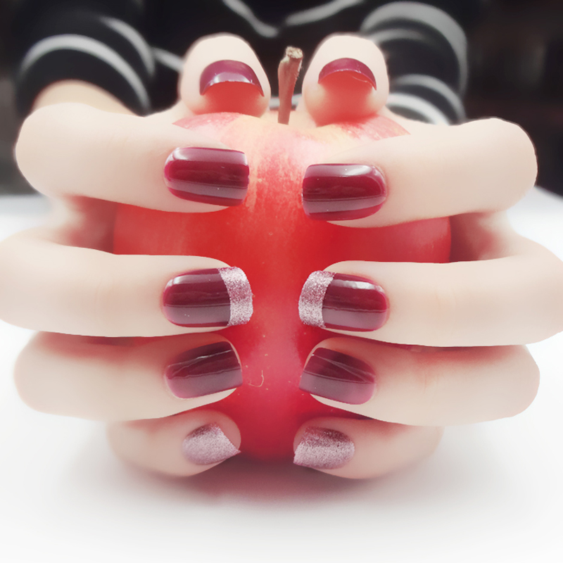 24pcs Fashion False Nails With French Designs Red Glitter Nail Art Tips Short Square Press On Fingernails Acrylic Fake Nails Buy At The Price Of 1 89 In Aliexpress Com Imall Com