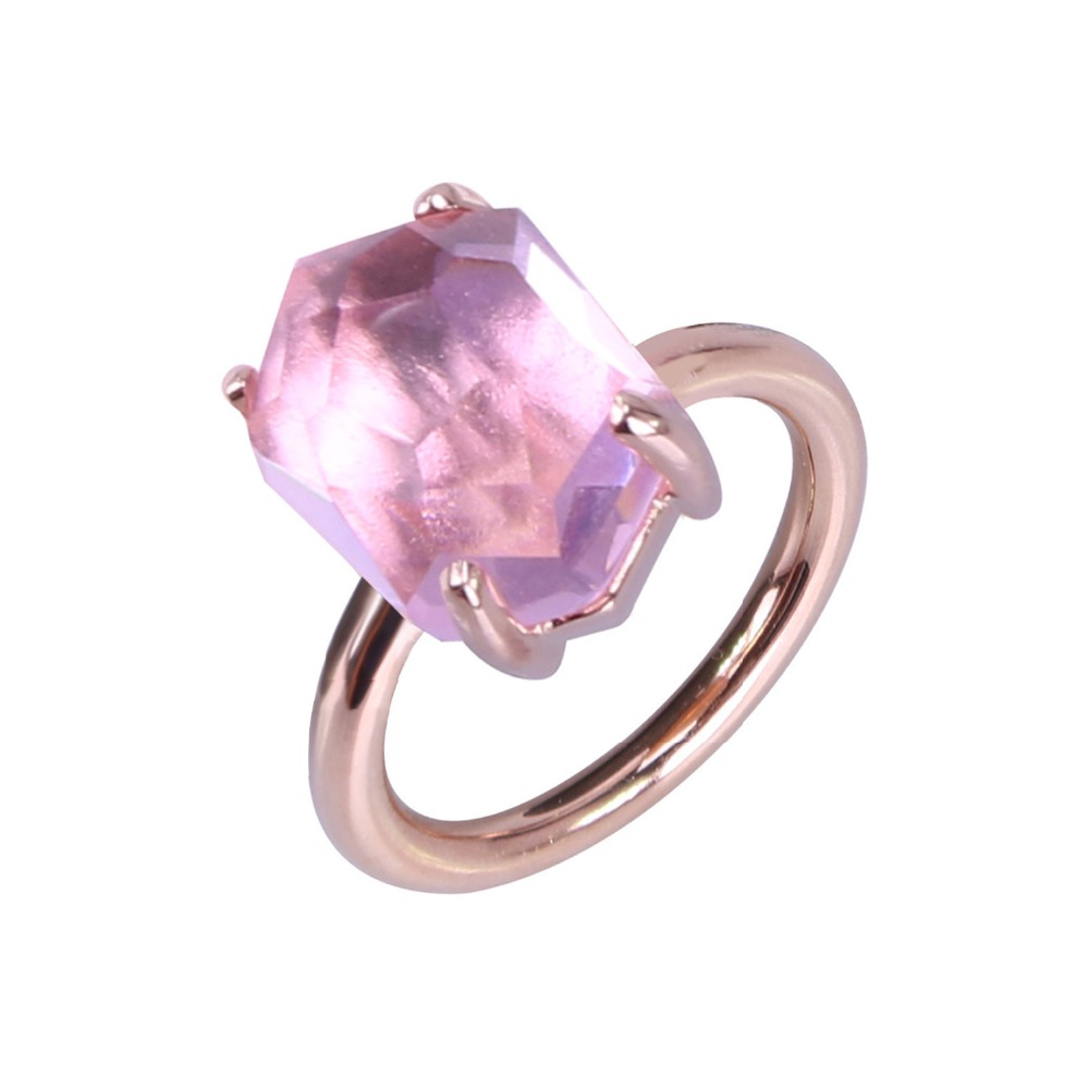 2017 New Fashion And Funny Of Irregular Geometric Interface Pale Pink  Crystal Rose Gold Plated Ring