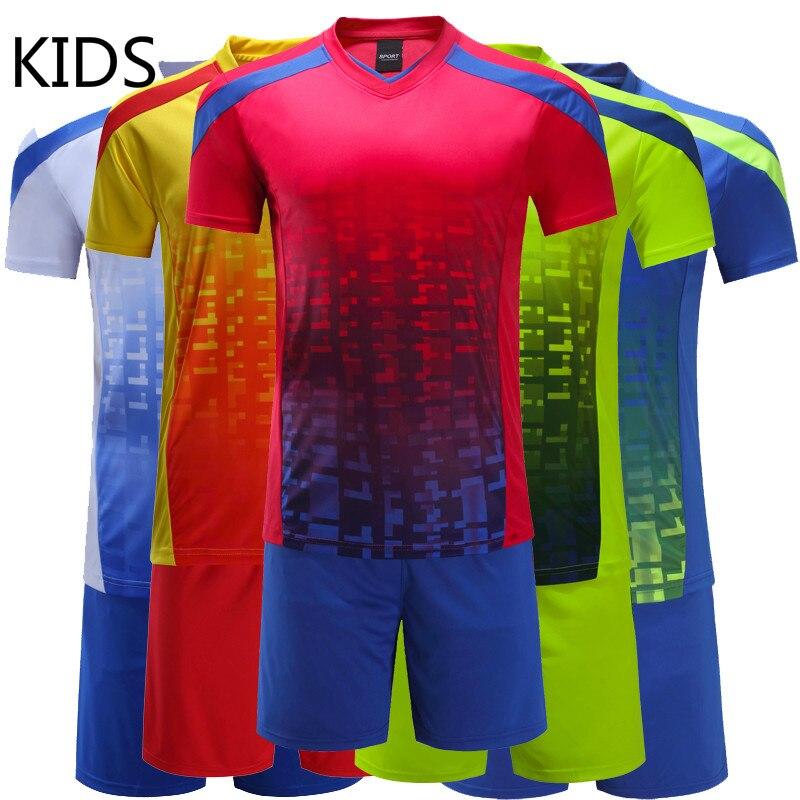 adfe3038b High Quality Kids Football Kit 2018 Custom Team Child Training Football  Jersey Set Children Boys Soccer Uniforms Clothing