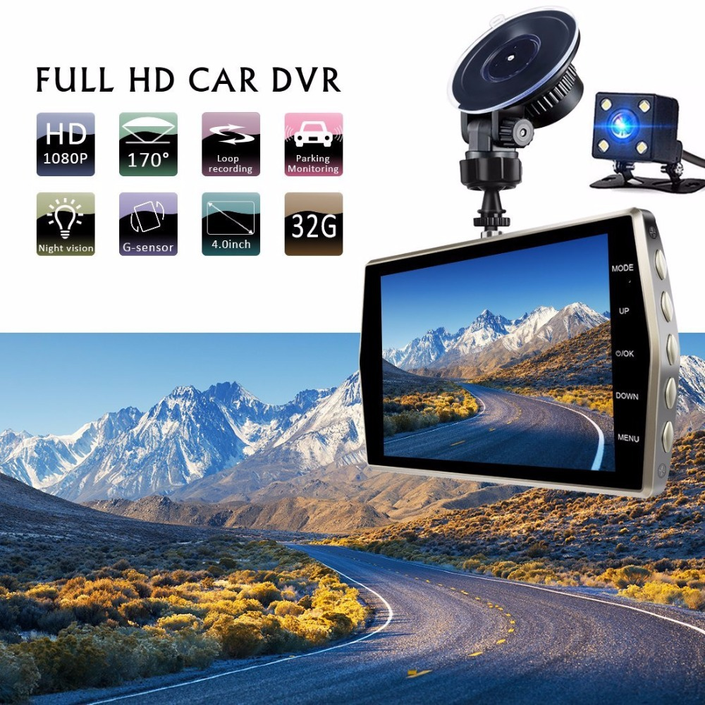 TOSPRA Car Camera 4 Inch Full HD 1080 Dual Lens Front & Rear Video Camera Cycle Recording