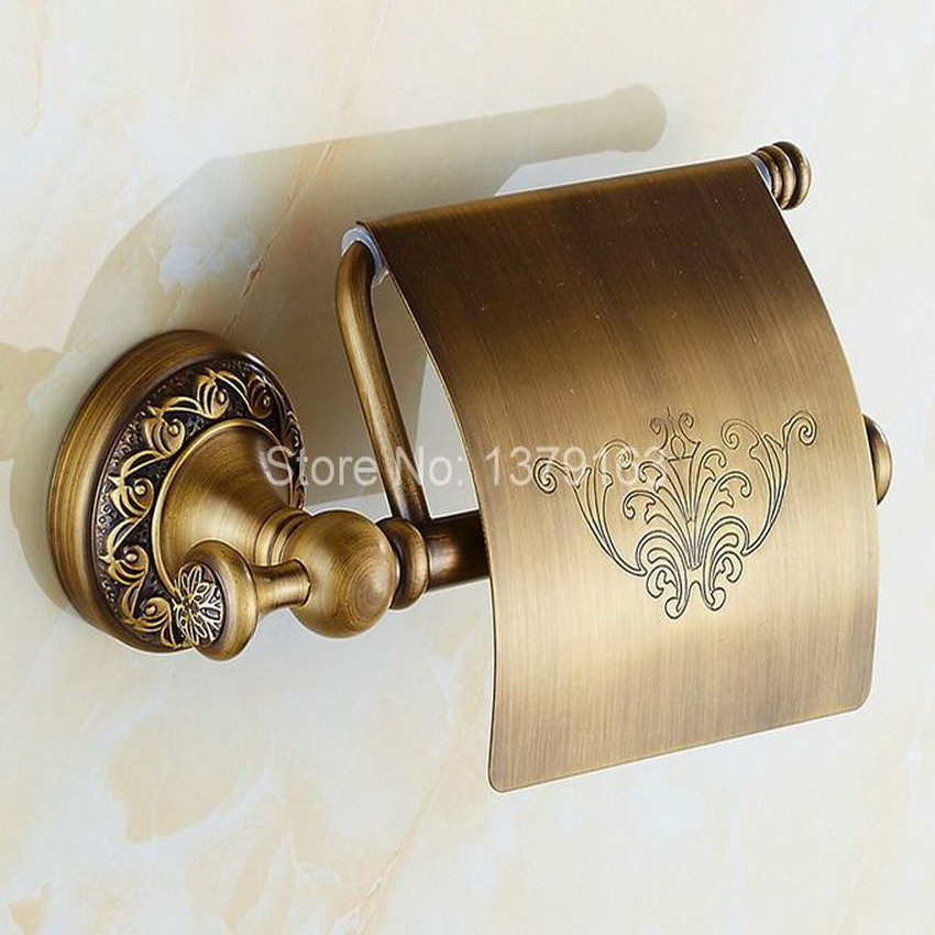 Bathroom Accessory Antique Brass Wall Mounted Toilet Paper Roll Holder aba487 bathroom accessory antique brass wall mounted copper toilet paper roll holder free shipping aba037