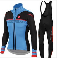 Winter thermal fleece ropa ciclismo Long Sleeves Bule cycling jersey bike maillot mountain Bicicleta cycling clothing Bib Sets