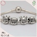 Hot Sale High Quality Real Silver Accessories 925 Sterling Silver King and Queen Charm Fitting European Famous Bracelet