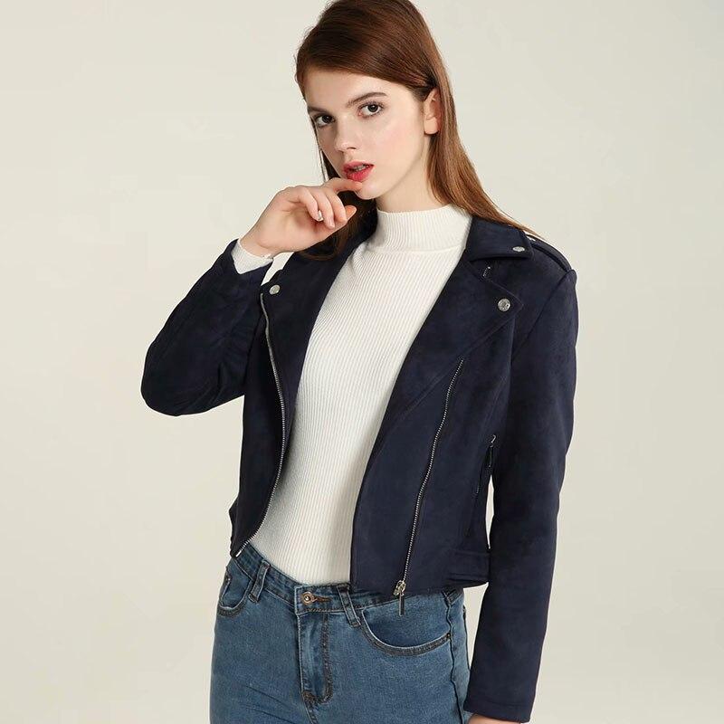 Klacwaya 2019 Autumn Women Faux   Suede     Leather   Biker Jackets Long Sleeve Zipper   Suede   Coat Streetwear Dark blue Autumn Outfit
