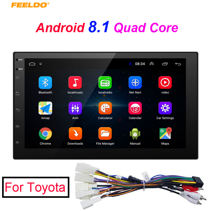 FEELDO New 7inch Ultra Slim Android 8.1 Quad Core Media Player With GPS Navi Radio For Toyota Car Head Unit + GiftFEELDO New 7inch Ultra Slim Android 8.1 Quad Core Media Player With GPS Navi Radio For Toyota Car Head Unit + Gift