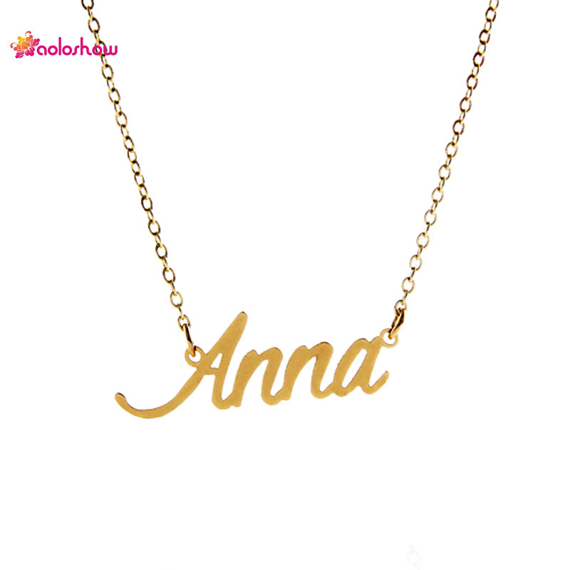 AOLOSHOW Gold color Script Letters necklace  Anna  for Women Alphabet Name Necklace Stainless Steel Charms Necklace ,NL-2390