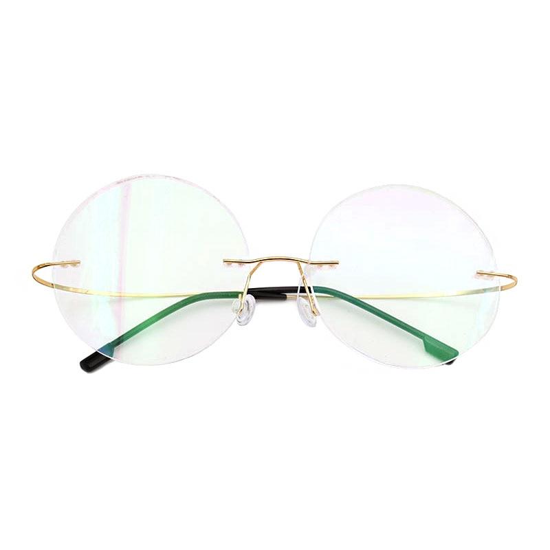 फैशन टाइटेनियम रिमलेस चश्मा फ्रेम ब्रांड डिजाइनर पुरुष चश्मा पढ़ना चश्मा ऑप्टिकल प्रेसक्रीप्टन लेंस गोल चश्मा