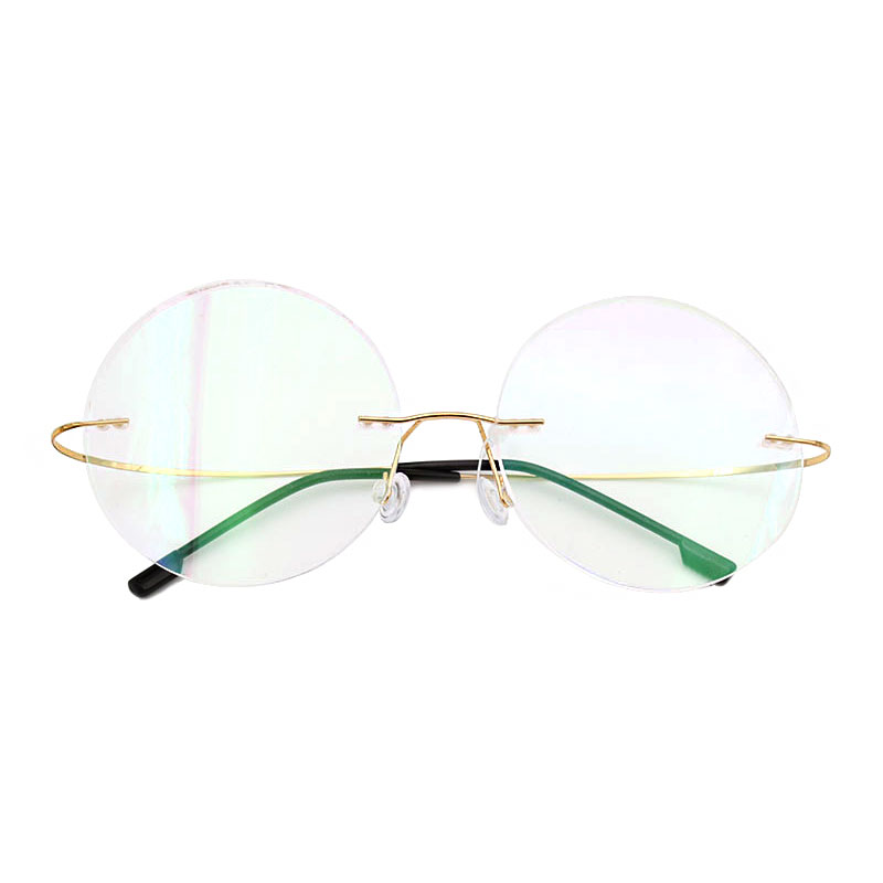 Mode titanium kacamata tanpa bingkai bingkai merek desainer pria kacamata baca kacamata optik lensa prescpriton kacamata bulat