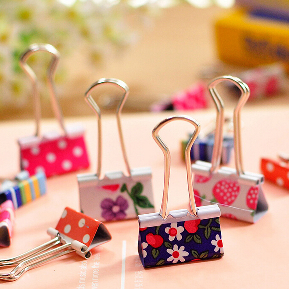 Flower Printed Metal Binder Clips Notes Letter Paper Clip Office Supplies Random Style 6 Pcs/lot Fresh Styles