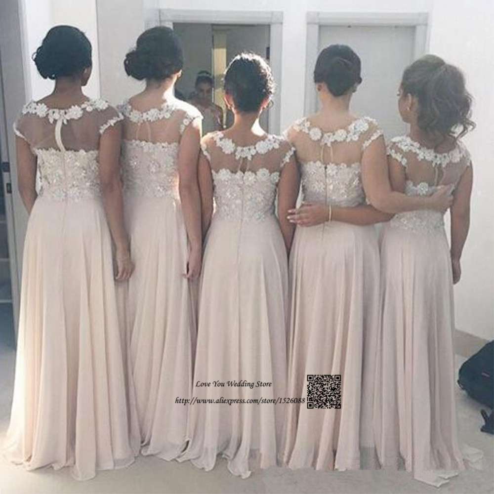 Champagne Vintage Lace Bridesmaid Dress Long Wedding Guest Dresses 2017  Custom Made Robe demoiselle d honneur African Prom Dress-in Bridesmaid  Dresses from ... 6b413a1e621a