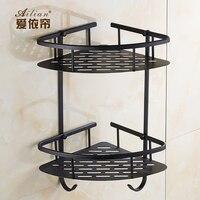 European Luxury Villa Black Imitation Bronze Copper Bathroom Corner Basket Tripod Bathroom Corner Shelf Free Shipping