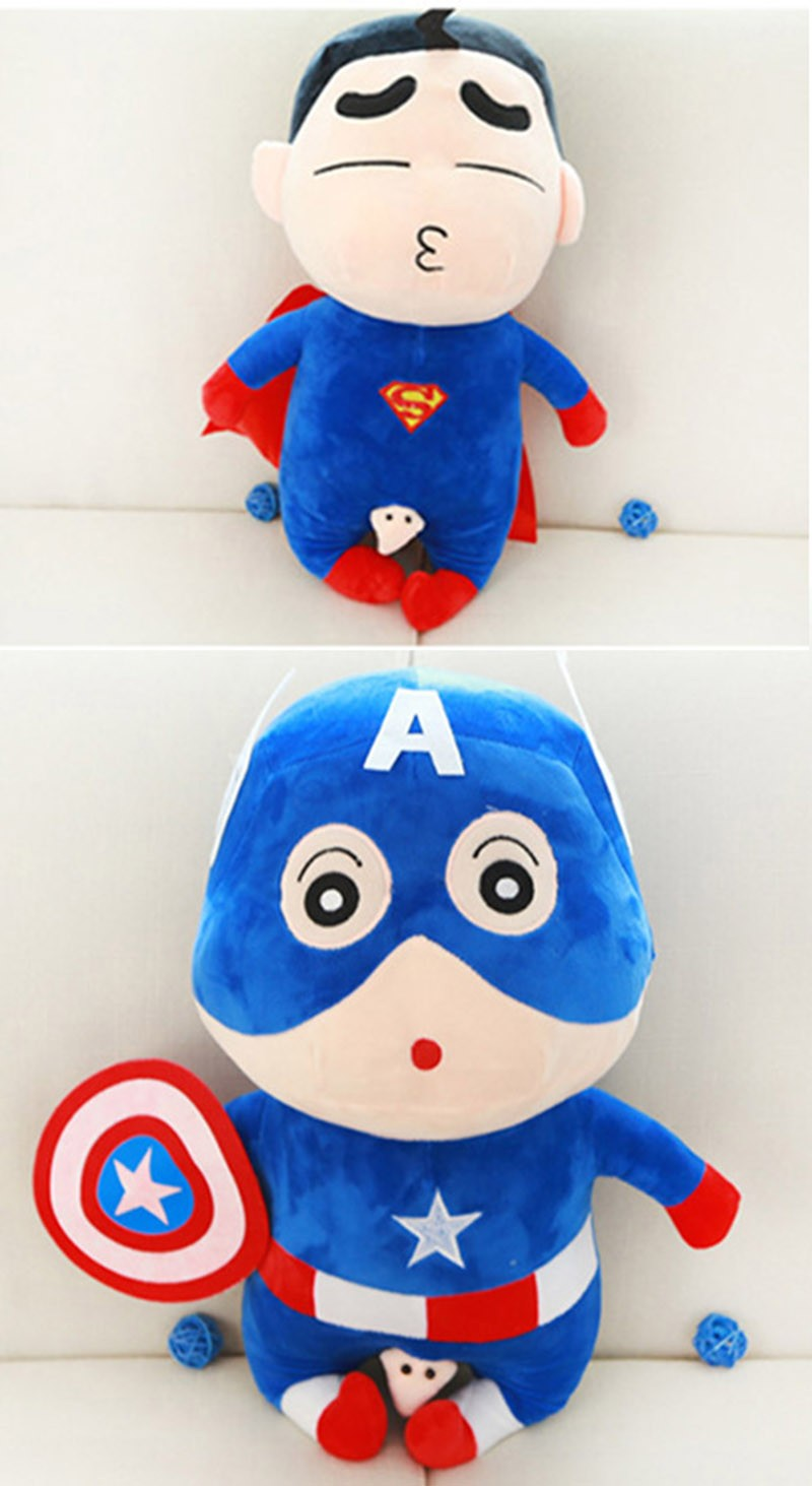 60-Cm-Toy-Doll-Avengers-Captain-America-Superman-Spider-man-Batman-Plush-Toys-Dolls-Soft-Cute-Crayon-Shin-chan-Cosplay-Japan-Cartoon-TY0019 (2)