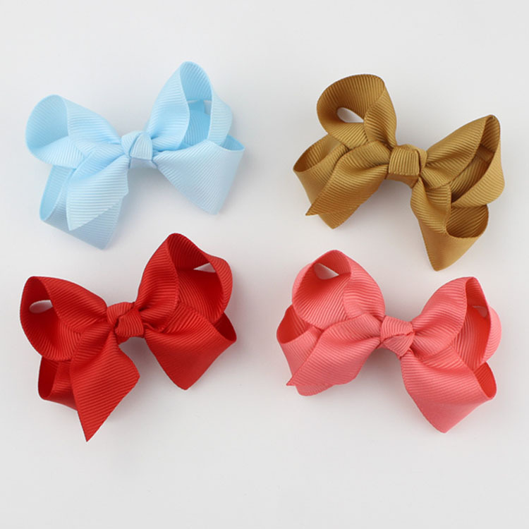 Sale 1pc Little flowers Solid Color Kids Girls Ribbon Hair Bow Clips with Hairpins Hair clip Accessories Handmade   Headwear   Pink