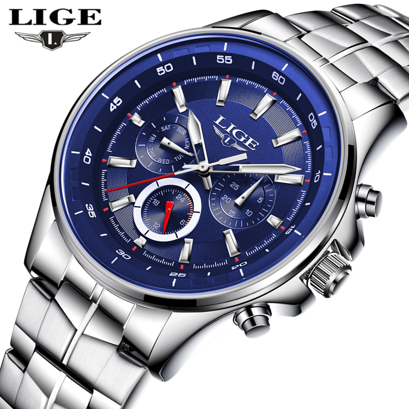 LIGE Watch Men Business Waterproof Clock Mens Watches Top Brand Luxury Fashion Casual Sport Quartz Wristwatch Relogio Masculino the fifth quartz watch men women casual mens watches top brand luxury business quartz watch men wristwatch relogio masculino