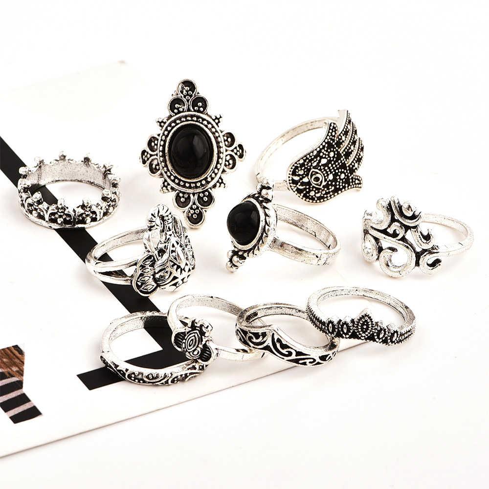 10 ชิ้น/เซ็ต Bohemian Retro Elephant มงกุฎดอกไม้สีดำปรับแหวนเงิน Vintage เครื่องประดับแหวนผู้หญิง