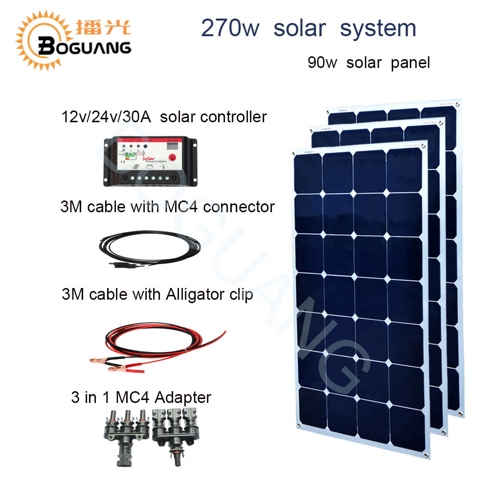 BOGUANG 270w solar system 90w solar panel cell 30A controller cable 3 in 1 adapter 12v battery yacht house roof car RV charge boguang 16v 90w solar panel quality cell aluminum board for home system car rv boat yacht 12v battery charger