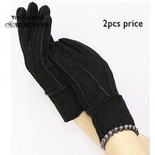 2 шт/партия Большая распродажа женские зимние теплые шерстяные перчатки натуральная кожа женские черные золотые двухсторонние меховые перчатки-митенки