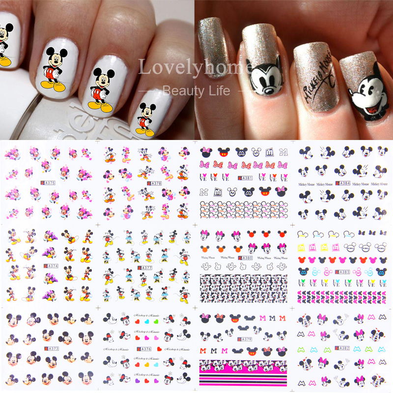 12 Sheets 12 styles A373-384 Nail Art Water Transfer Sticker Decals Cute Mickey Mouse Cartoon Stickers Wraps Tips Decoration