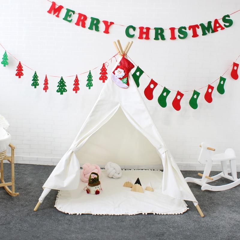 Enfants Jouent Tente Coton Toile Tipi Indien Enfants Jouer Maison Chambre de Bébé Décoration De Noël Tipi Jouets Pour Enfants Cadeau De Noël