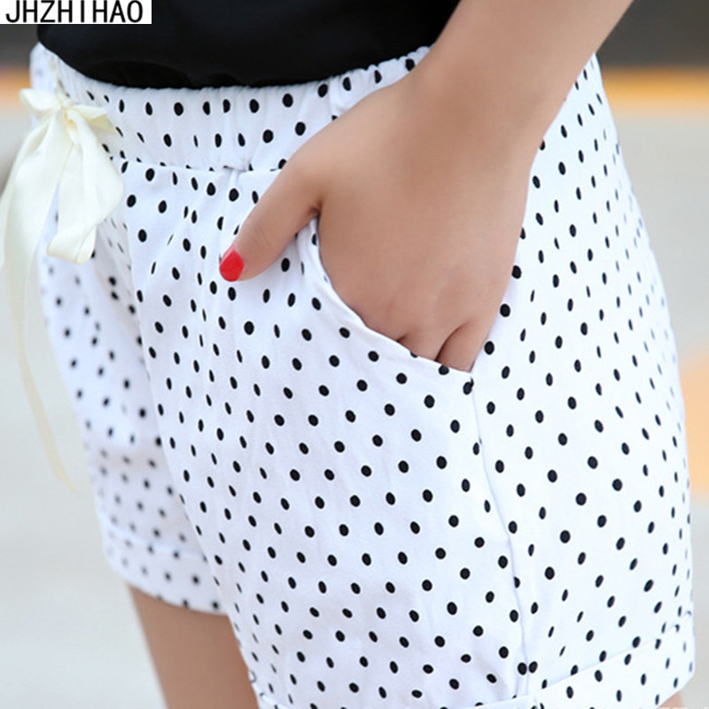 New 2017 summer sexy Small dots women   shorts   casual style ladies   shorts   hot sale plus size cotton female   shorts   femininos