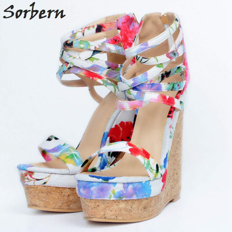 Sorbern Women Wedges Pumps Plus Size Ladies Heels 2018 High Heels Big Size Zipper Platform Pumps New Arrive Luxury Women Shoes sorbern high heels pumps womens shoes platform autumn women shoes plus size ladies party shoes 2017 new arrive peep toe zipper