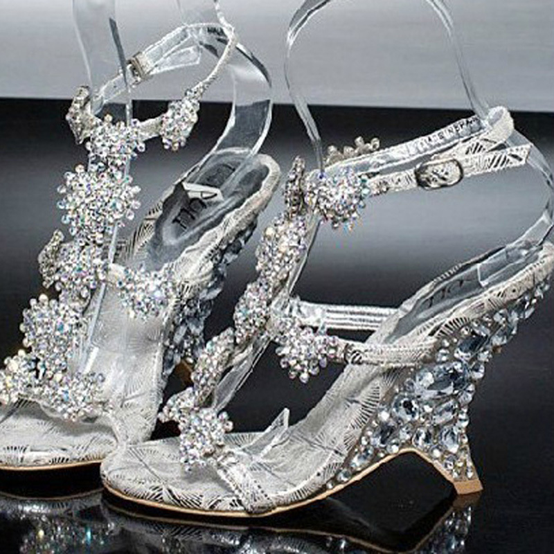 Evening Prom Party Dresses Lady Bridal Wedding Shoes Lady Wedge Heel Summer Sandals banquet princess diamond crystal shoes
