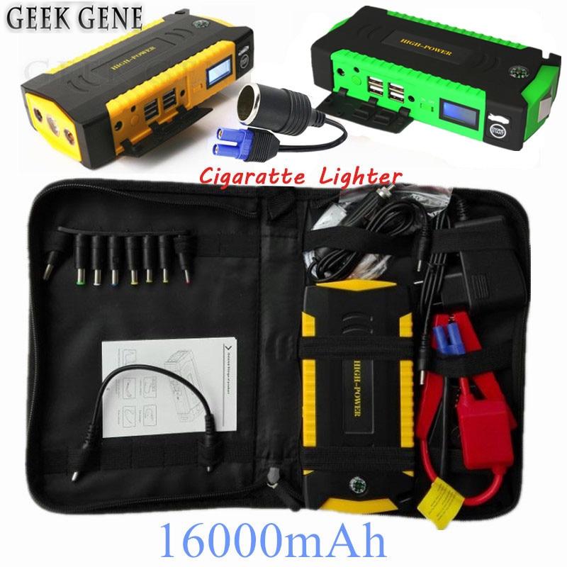 Coche de arranque salto 600A pico Portable 16000 mAh Banco 12 V coche cargador para batería de automóvil Diesel gasolina Booster buster para iPhone