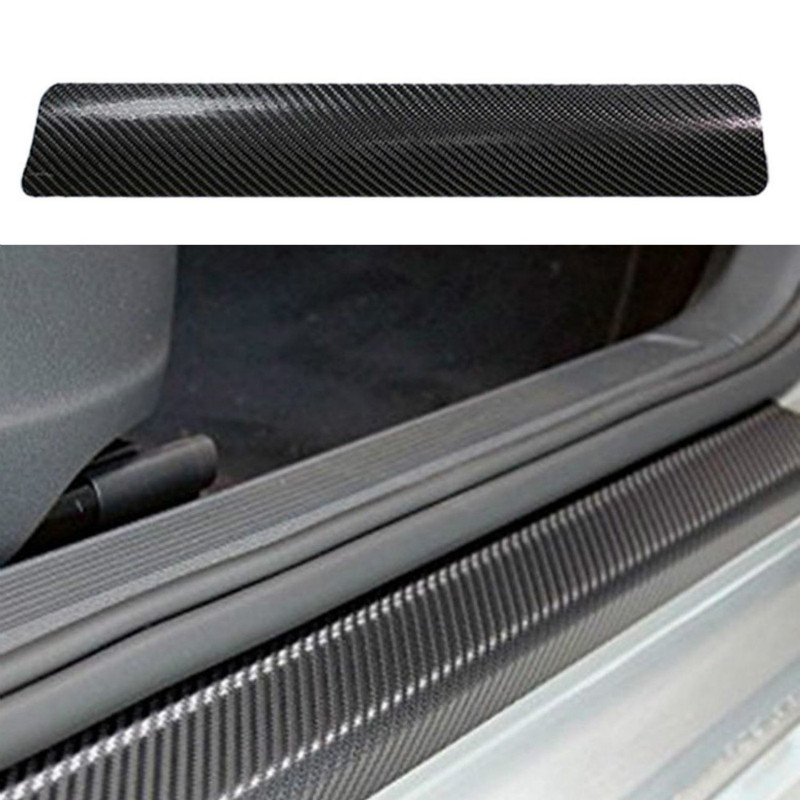 4Pcs/Set Carbon Fiber Sill Scuff Anti Scratch Threshold Car Sticker Auto Car Styling 3D PU Stickers 60cmx2 40cmx2|Car Stickers| |  - title=