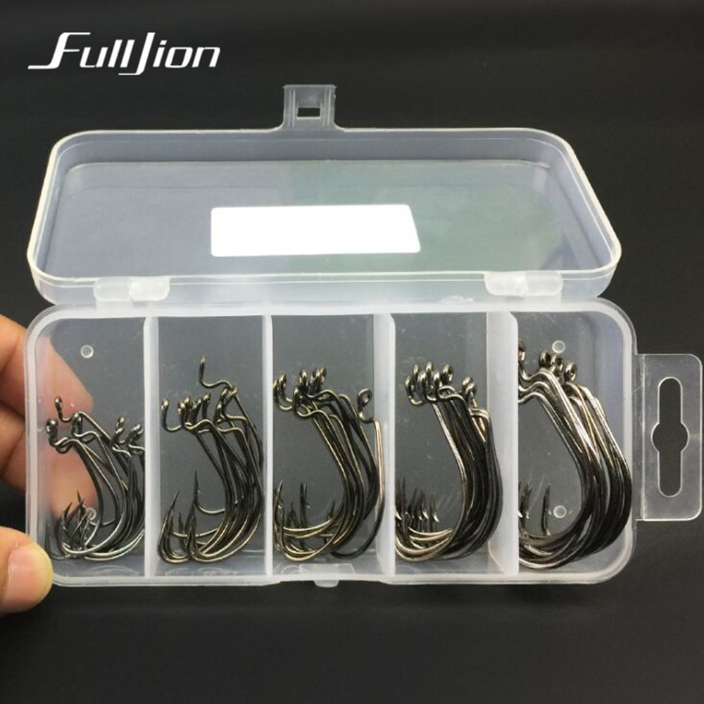 Fulljion 51pcs/lot Crank Fishing Hooks High Carbon Steel Fishhooks With Plastic Box 5 Specifications for Carp Fishing Tackle Box