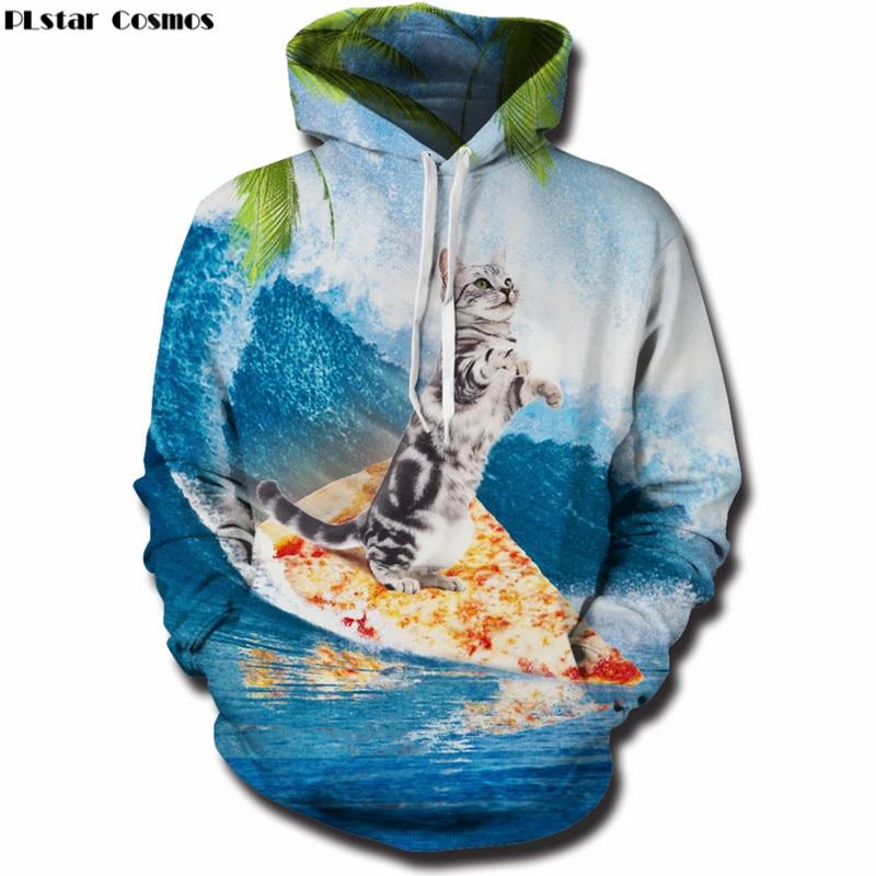 PLstar Cosmos Hoodies Sweatshirts men/women 3D Print Cat Hooded Sweats Tops Streetwear Unisex funny Pullover plus size