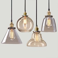 Light Bulb Pendant Light Copper Glass Restaurant Pendant Light Single Pendant Light Vintage Retractable Wall Lamp
