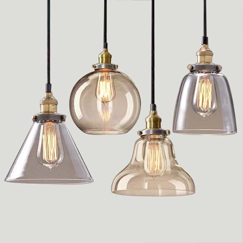 Light bulb <font><b>pendant</b></font> light copper glass restaurant <font><b>pendant</b></font> light single <font><b>pendant</b></font> light vintage retractable wall lamp american style