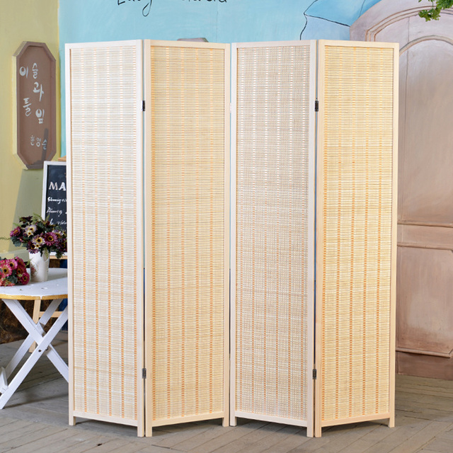 Decorative 4 Panel Woodu0026Bamboo Folding Room Divider Screen Bamboo Furniture  Hinged Privacy Screen Portable Folding Room