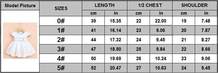 size chart of white dress