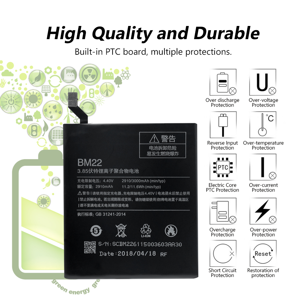 BM22 BM 22 BM 22 Battery Replacement For Xiaomi Mi 5 Mi5 Smart Phone 3 85V 3000mAh Original Battery in Mobile Phone Batteries from Cellphones Telecommunications
