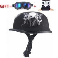 German Motorcycle WWII Style Half Helmet Chopper Biker Pilot Goggles Open Face Moto Motocicleta Capacete Casco Casque Kask