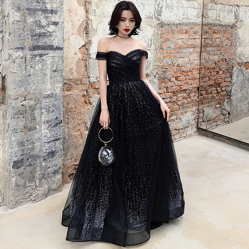 Evening     Dress   Black Sleeveless Robe De Soiree Sexy Backless Women Party   Dresses   2019 Long Plus Size Boat Neck   Evening   Gowns E674